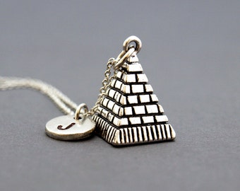 Pyramid necklace, silver pyramid, Egyptian pyramid jewelry, antique silver, initial necklace, initial hand stamped, personalized, monogram