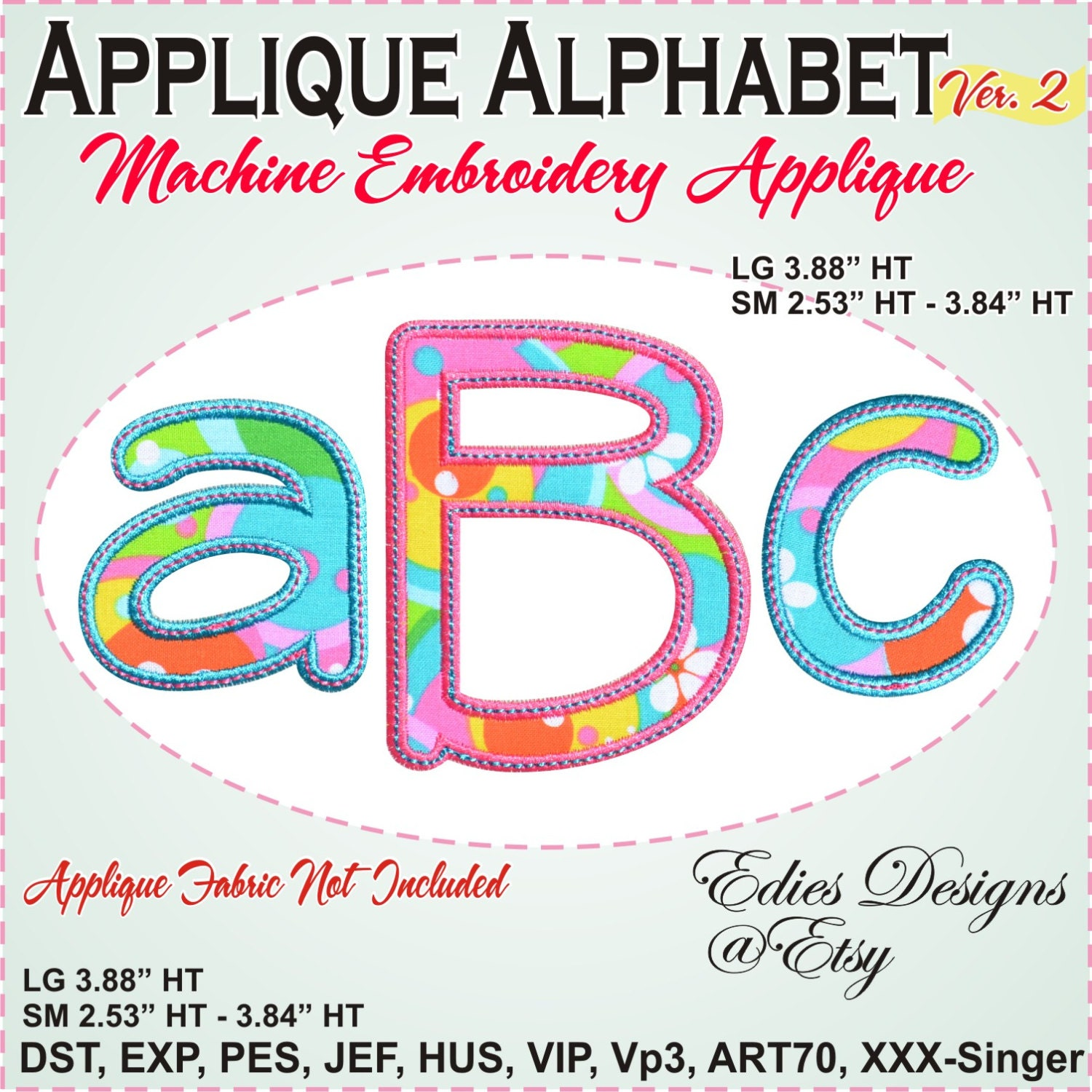 Applique alphabet embroidery font machine