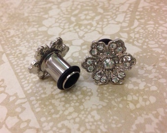 Art deco crystal hibiscus single flare tunnels or wedding plugs for gauged or stretched ears: Sizes 8g,6g,4g,2g,0g,00g,7/16