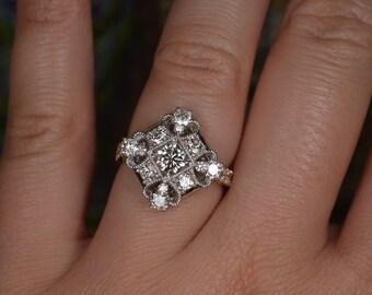 Art Deco-Inspired Diamond Ring (18K White and Rose Gold)
