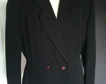 Vintage 1940 40s black jacket ww2 landgirl  Le Bon marché Paris L XL