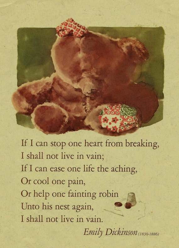 Vintage Emily Dickinson Poem Teddy Bear Illustration Art