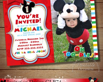 HUGE SELECTION Mickey Mouse Invitation, Red Yellow and Black Mickey Mouse Invitation, Mickey Clubhouse Invitation