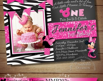 HUGE SELECTION Zebra Chalkboard Polka Dot Minnie Mouse Birthday Invitation, Printable Zebra Minnie Mouse Invitation, Zebra, Invitation