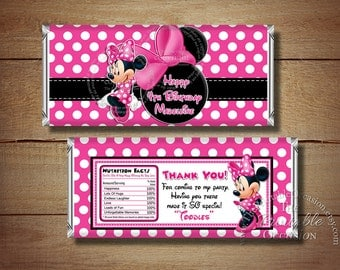 Minnie Mouse Candy Bar Wrapper, Black Pink Polka Dots Minnie Mouse Candy Bar Wrapper, Printable Candy Wraps, DIY Pink Minnie Mouse Birthday