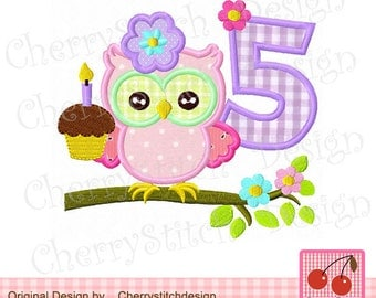 Owl number 5 Birthday embroidery applique -4x4 5x5 6x6""