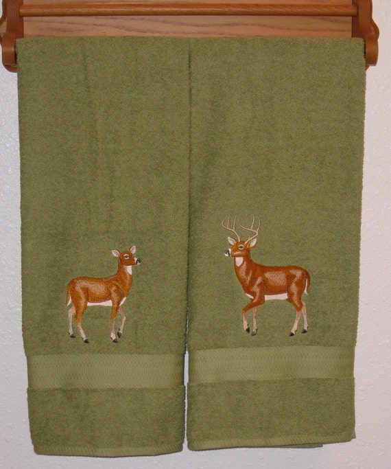 His And Hers Deer Towel Set Buck And Doe Bath Towels For