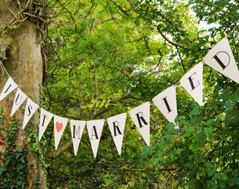 Just Married Bunting - kraft paper wedding Bunting