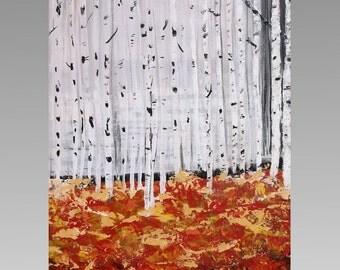 Birch Tree Wall Art | Original Art | 16x20 Acrylic | Seasonal Landscape | Palette Knife Painting | made to order by Jills Fine Art