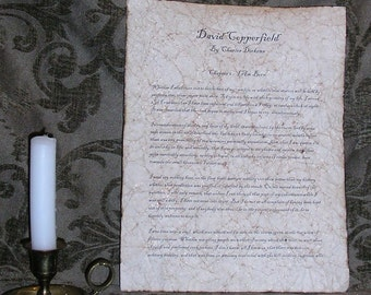 David Copperfield - Antiqued reproduction of first page