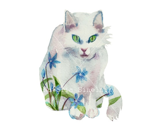 White spring cat digital download from original watercolor art nursery first blue flowers clipart