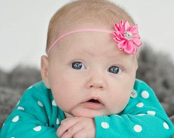 MORE COLORS-Newborn Headband-Skinny Elastic Band-Rhinestone Satin Flowers-Boutique Style-Petite Bows-Toddler Band-Pink headband-Baby