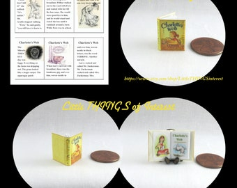 CHARLOTTE'S WEB by E.B. White Miniature Book Dollhouse 1:12 Scale Illustrated Readable Book