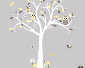 Owl decal, Owl tree wall sticker, Yelllow Grey Owl, owl wall decal, nursery owl decor, Banana/Grey Chevron Design