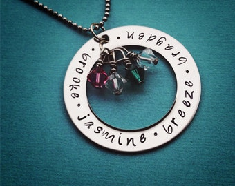 "Custom Hand Stamped Mothers Necklace - 1 1/2"" Washer with Swarovski Crystal Birthstone Charms"
