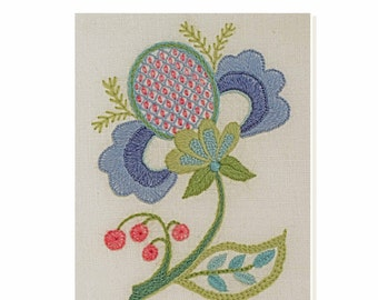 PDF Download - BLUE PETALS Crewel Work pattern