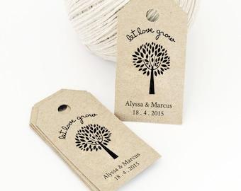 Let Love Grow, Favor Tag Template, MEDIUM, Wedding Tag, Gift Tag - Wedding Labels - Hang Tags, DIY Digital Printable