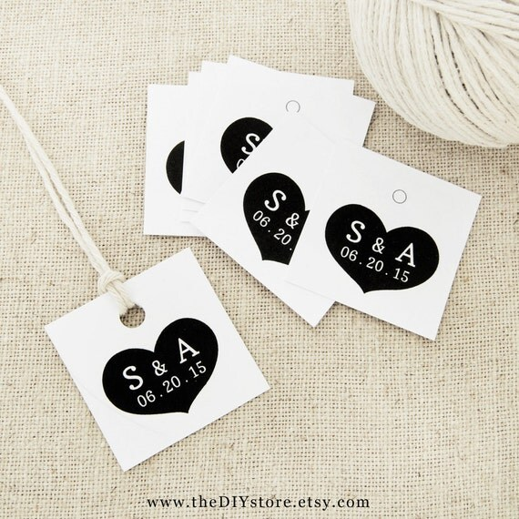 "Heart Favor Tag, Text Editable Printable, Small 1.5 x 1.5"" Square Tags, Gift Tag, Thank You Tag, Wedding Tags"