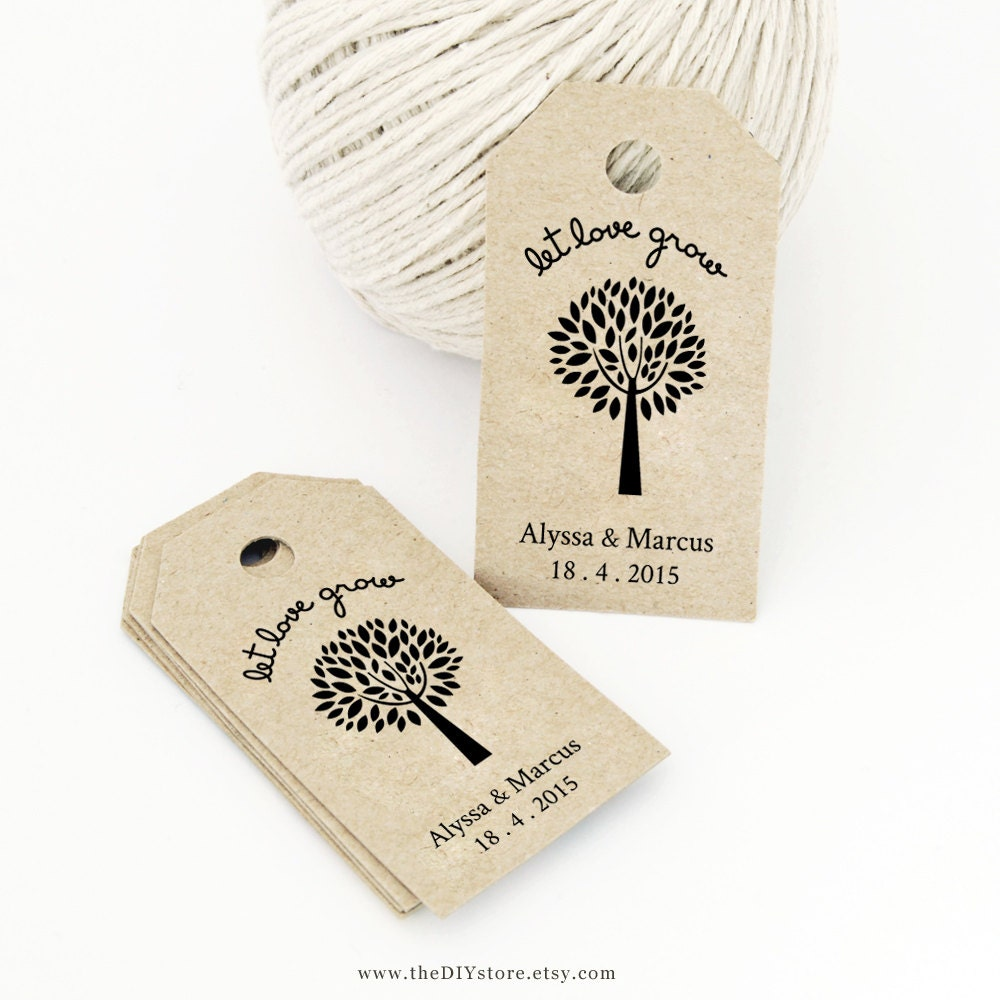Wedding Gift Bag Tags Template : Let Love Grow Favor Tag Template MEDIUM Wedding Tag by TheDIYStore