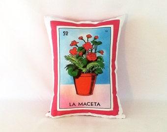 Maceta (flower pot) Loteria Pillow Cover - Mexican Style - Mexican Loteria Pillow - Day of the Dead, Dia de los Muertos