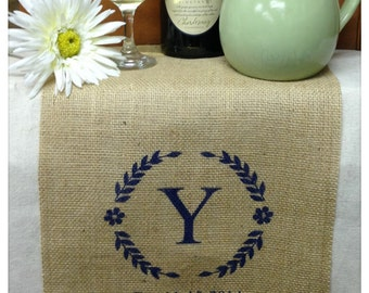 "Burlap Table Runner  12"", 14"" & 15"" wide Monogram w/border and est date"