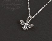 Silver Bee Necklace, Gold Honey Bee Necklace, Mom Jewelry, Bumblebee, Bee Jewelry, Charm Necklace, Mother's Day Gift, ACharmedImpression