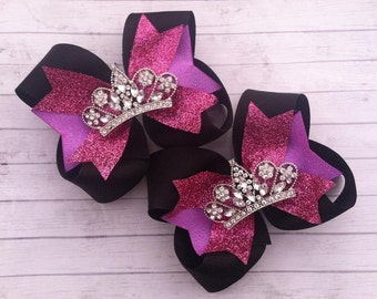 GLAMOUR GIRL BOWS - Rhinestone tiara bows - Pageant bows - Shoes toppers - Pigtail bows - Birthday bows - Hot pink, purple, black bows