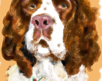 Custom Dog Portrait, Art & collectibles, pet portrait, pet lover, springer spaniel, pet memorial, dog art, wall art, artwork, dog memorial