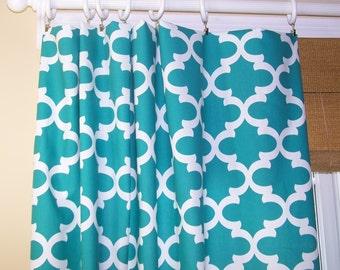 "Turquoise CURTAINS.Narrow Panels.Premier Prints Fabric. Custom Drapery Panels. 24"" Wide. Rod Pocket"