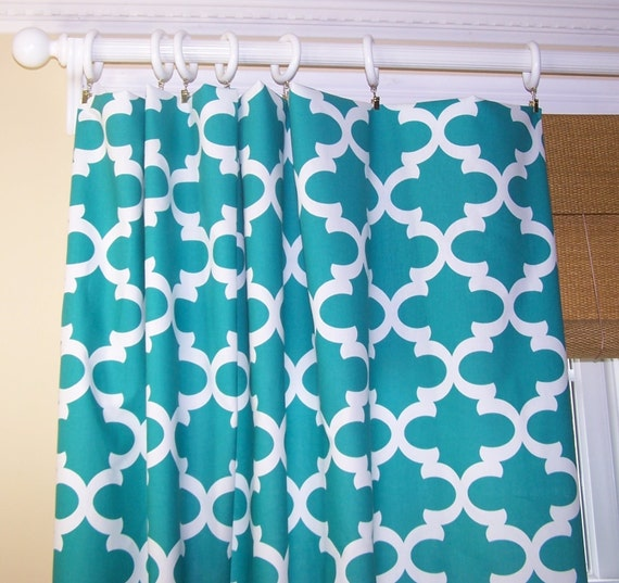 turquoise curtains.narrow panels.premier prints fabric. custom