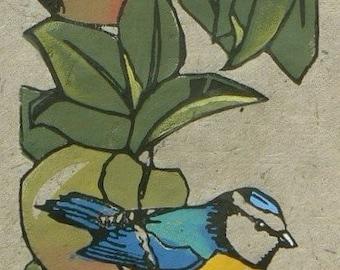 Blue Tit in the Apple Tree lino cut print