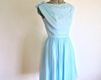 XS, 50s 60s Blue Chiffon Party Dress by Lori Deb Bows Designer