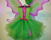 FREE SHIPPING RTS- size 3T 4T or 5 Fairy green/pink Tutu Dress up Birthday costume