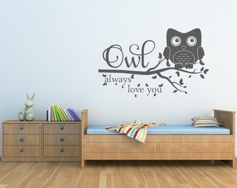 Owl Decor Owl Always Love You Wall Decal Owl Nursery Decal Owl Wall Decal Nursery Decor Vinyl Wall Decal
