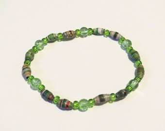 Green with white handmade Paper Bead Bracelet with stretch cord. Unique and customizable