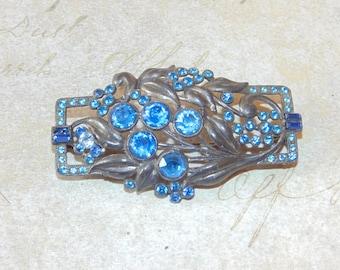 BR38 Vintage Estate Jewelry 1930's Gorgeous Art Nouveau Blue Rhinestones Leaves Flowers Pot Metal Brooch Art Deco Costume