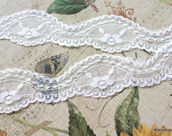 White Embroidered Net Lace Trim Ribbon 36mm wide