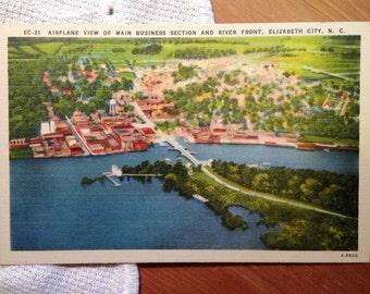 Vintage Postcard, River Front, Elizabeth City, North Carolina - 1940s Linen Paper Ephemera