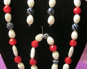 RED WHITE and BLUE Beaded  Jewelry Set