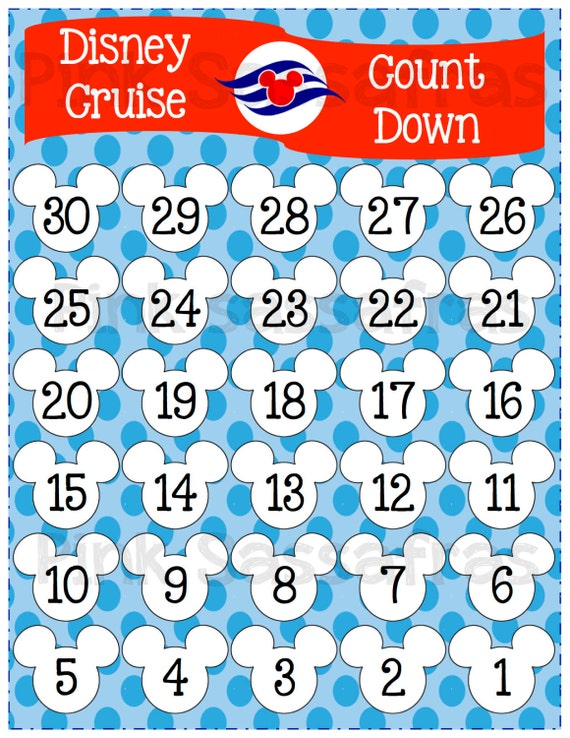 Mickey Mouse Disney Cruise Printable Countdown by PinkSassafras