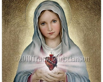 The Immaculate Heart of Mary, Virgin Mary, Our Lady, Catholic Art Print, Free Shipping #4023