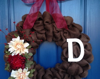 "23"" Chocolate Brown Burlap Wreath with Burgundy Accents"