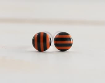 Halloween Plugs Orange and Black Stripe Gauges for 4g 2g or 0g Ears Custom Size Piercing