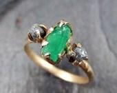 Three raw Stone Diamond Emerald Engagement Ring 14k Gold Wedding Ring Uncut Birthstone Stacking Ring Rough Diamond Ring byAngeline 0053