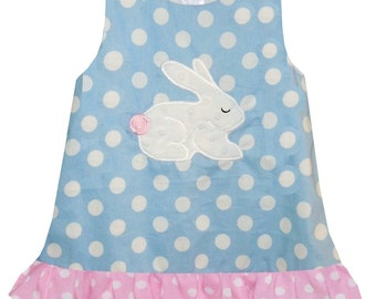 GIRL'S Bushy Tale BUNNY Rabbit Dress in Blue and Pink Dots