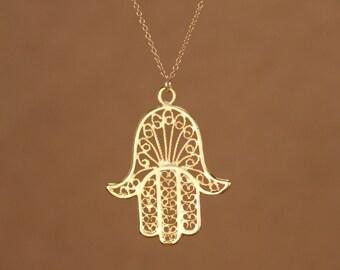 Hamsa necklace - gold hamsa charm - khamsa necklace - amulet - a filigree style gold vermeil hamsa on a 14k gold vermeil chain