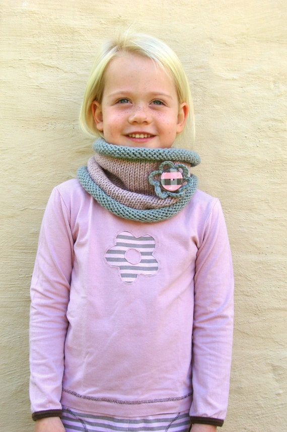 Knit Scarf, Kids cowl, Blush pink and grey neckwarmer with Flower ...
