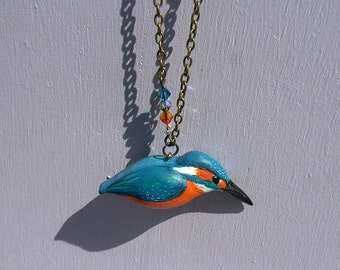 Common Kingfisher necklace - polymer clay - handmade