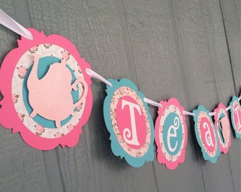 Tea Party Banner - TEA TIME - Pink, Blue, Floral - shabby chic - Birthdays, Garden Parties, Tea Parties, Photo Prop