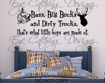 Bass Big Bucks Dirty Trucks That S What Little Boys Are Made Of Country Wall Decal Home